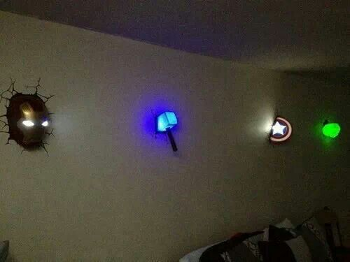 The Avengers wall lights :) I need these!