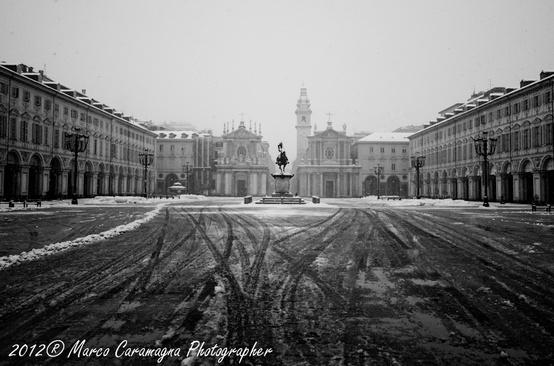 Piazza San Carlo. Nevicata di fine gennaio 2012