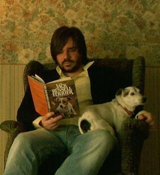 Matt Berry with a Jack Russell Terrier