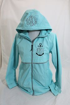 Aqua Rain Coat with anchor monogram in navy and gray on the left chest with monogram on hood.