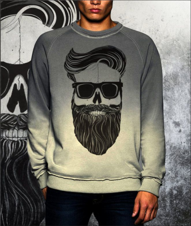 Shade grey dip dye sweatshirt new collection fashion 2017 Beard Skull old school di UnconventionalTees su Etsy