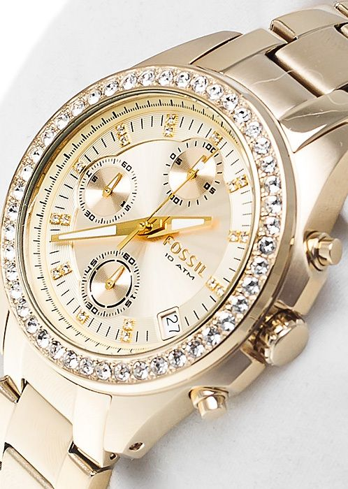Fossil Women's ES2683 Gold-Tone Stainless Steel Bracelet Gold Glitz Analog Dial Chronograph Watch