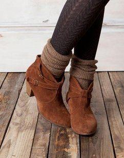 Suede Ankle Booties + cozy socks