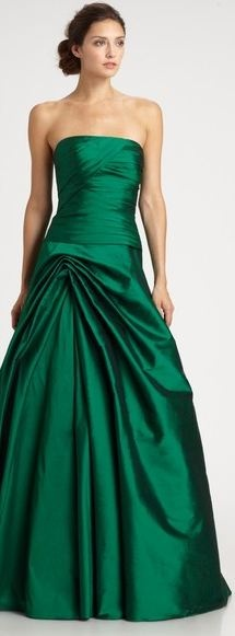 ML Monique Lhuillier Strapless Taffeta Gown in Green (emerald)  wedding dress