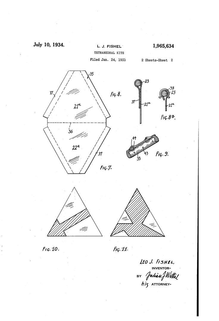 Patent US1965634 - Tetrahedral kite - Google Patents