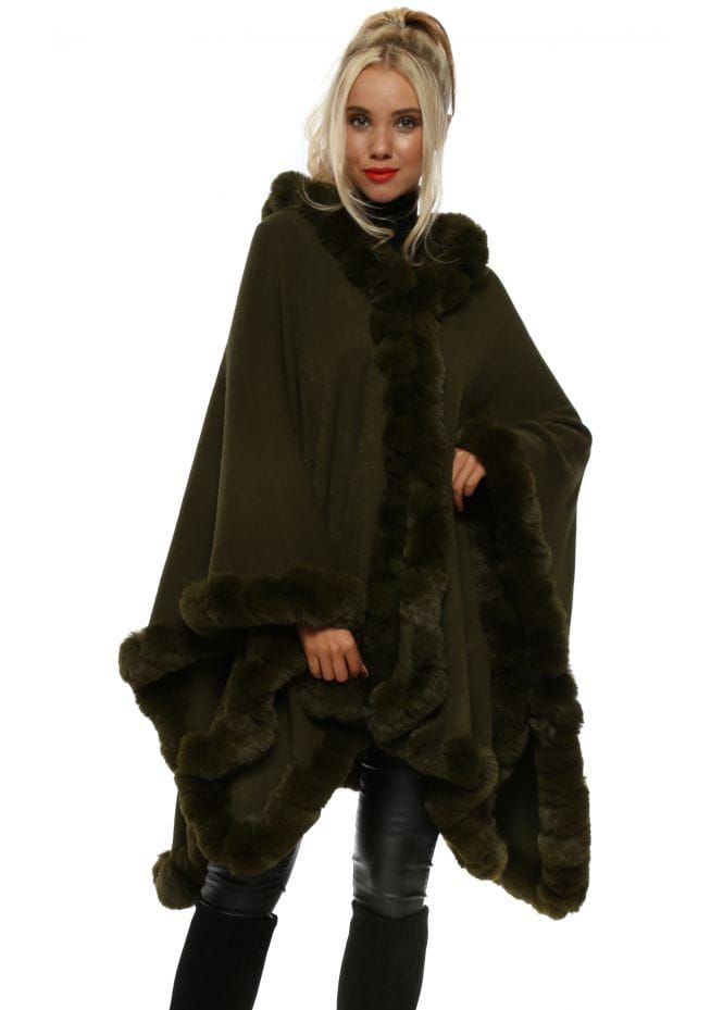 bcc64f6e2 Green Hooded Luxe Faux Fur Cape