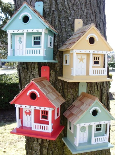 Sea Horse Cottage Birdhouse, Aqua beach-style-birdhouses