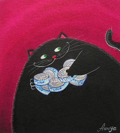Bad Cat Getting Away with Tuna by AnnyaKaiArt on Etsy, $18.00