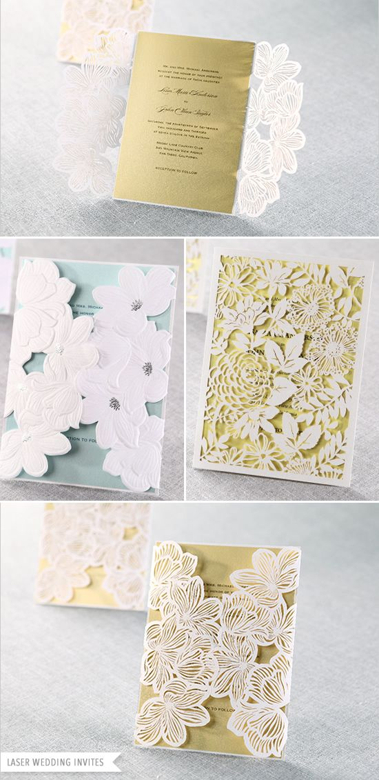 LOVE THESE. A modern version of classic lace.  Laser cut, romantic, wedding invitations from B wedding invitations