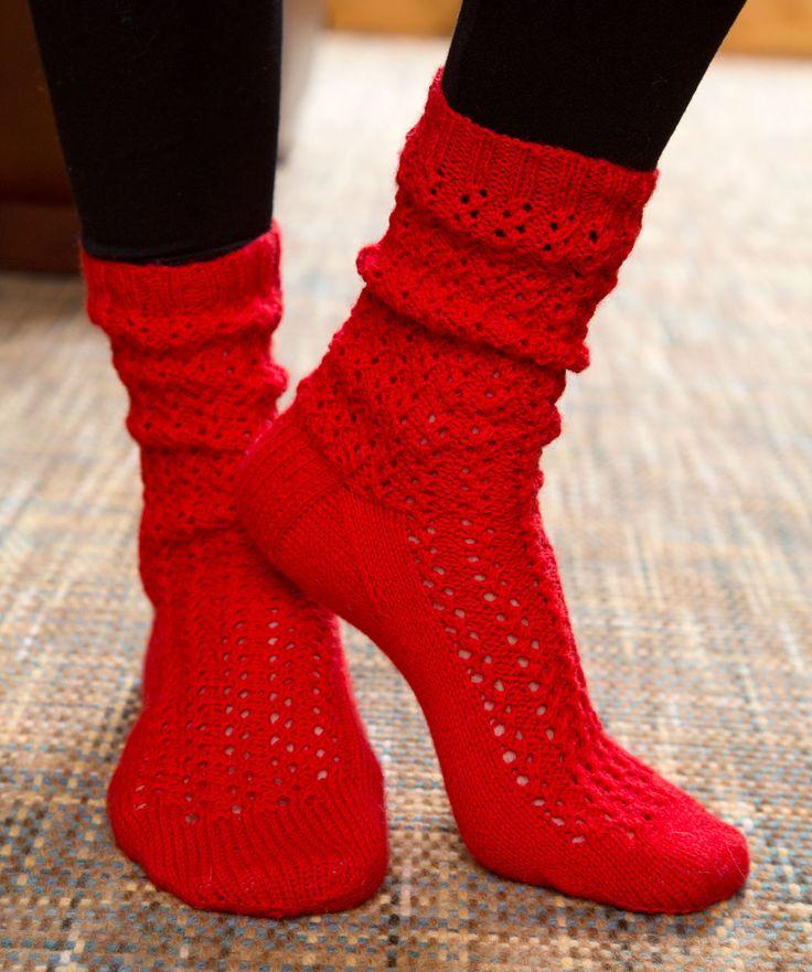Knitting With Sock Yarn Free Patterns : Make Mine Lace Socks Free Knitting Pattern from Red Heart Yarns New, New Fr...