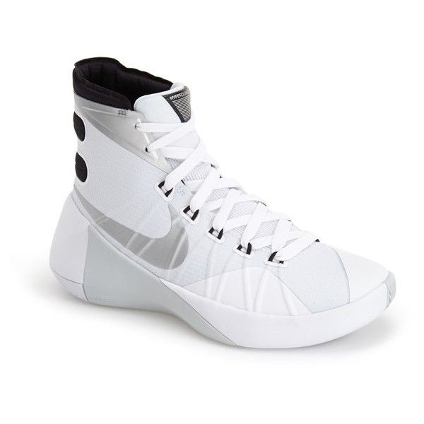 Nike 'Hyperdunk 2015' Basketball Shoe ($140) ❤ liked on Polyvore featuring shoes, athletic shoes, special occasion shoes, lace up shoes, high low tops, basketball shoes high tops and nike athletic shoes