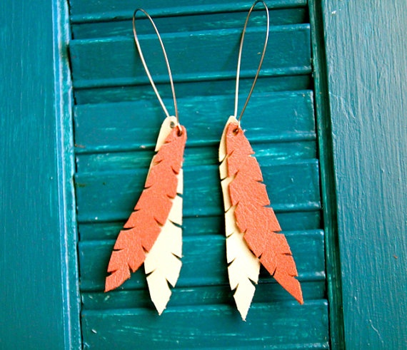Leather Feather Earrings $15.00