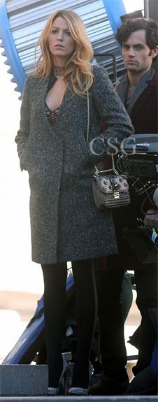Blake Lively wears an exquisite, brushed tweed 3.1 Phillip Lim Crombie Coat as she films new scenes for the sixth and final season of her hit show Gossip Girl on Thursday (October 11) in New York City.