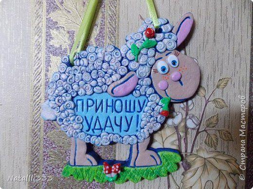 Картина панно рисунок Новый год Лепка Нежная овечка Тесто соленое