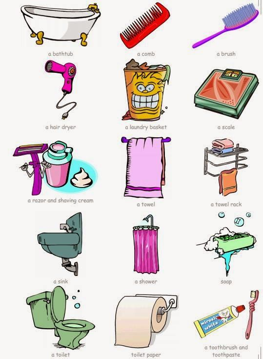 TUTTOPROF. Inglese: 15 Bathroom Objects flashcard