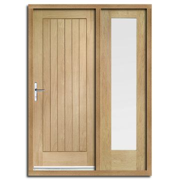 Image Of Suffolk Exterior Flush Oak Door And Frame Set With One Side