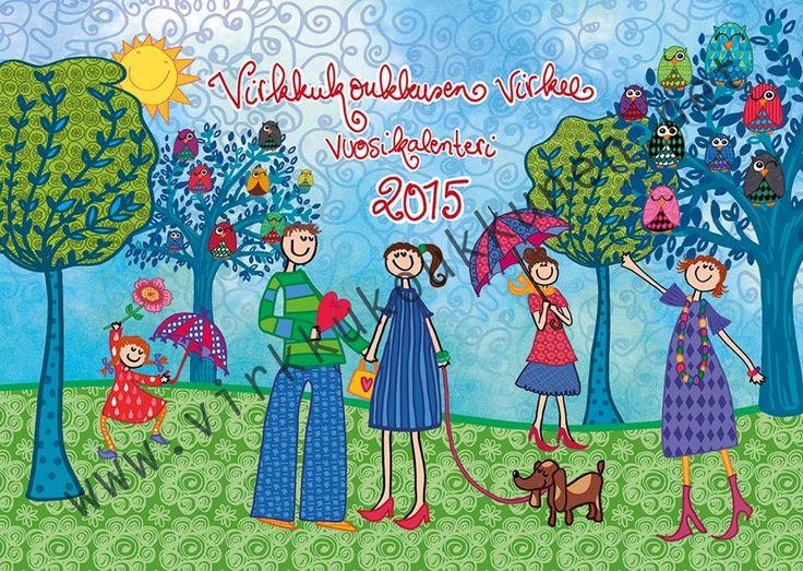 Virkkukoukkusen seinäkalenterin kansi vuodelle 2015