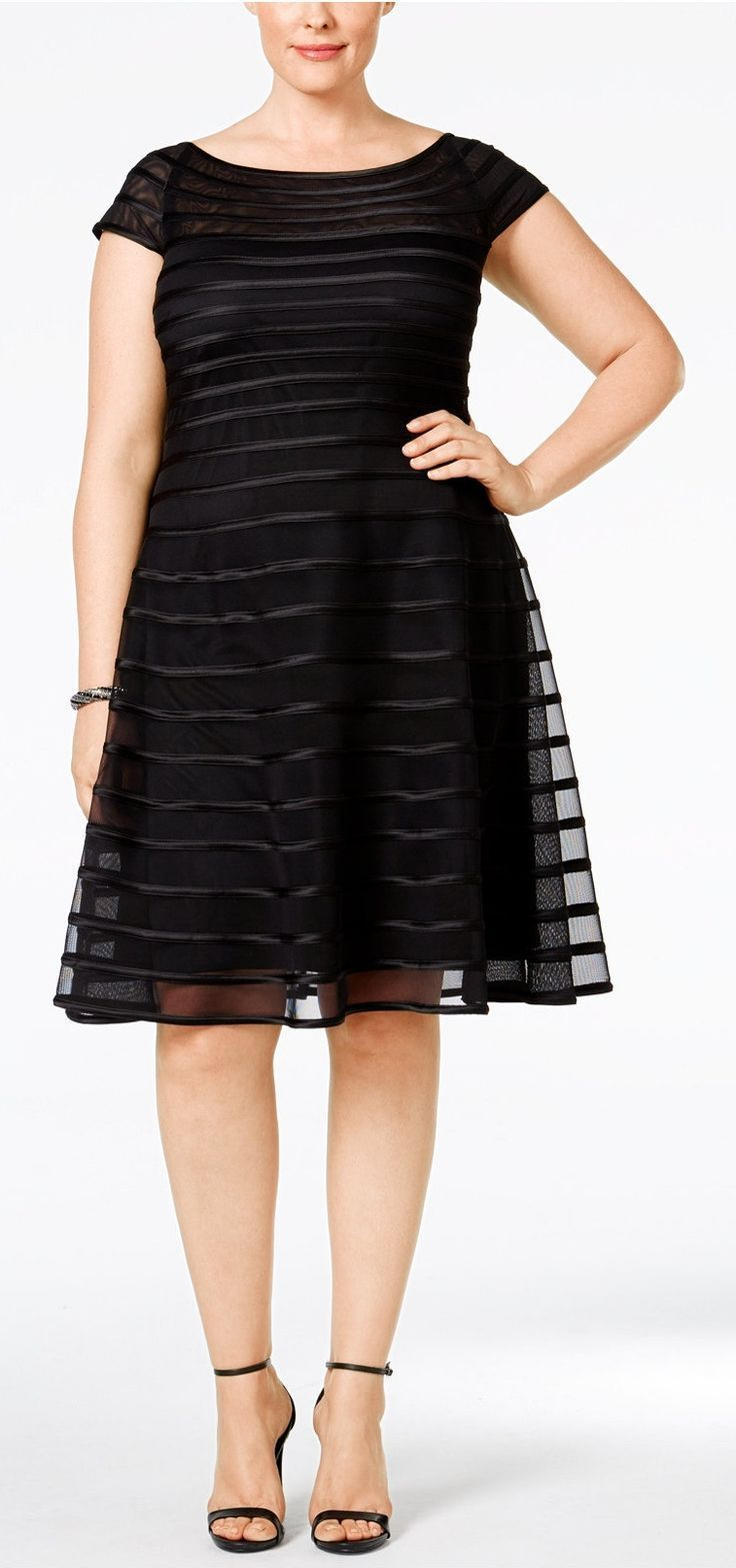 Plus Size Mesh Striped A-Line Dress