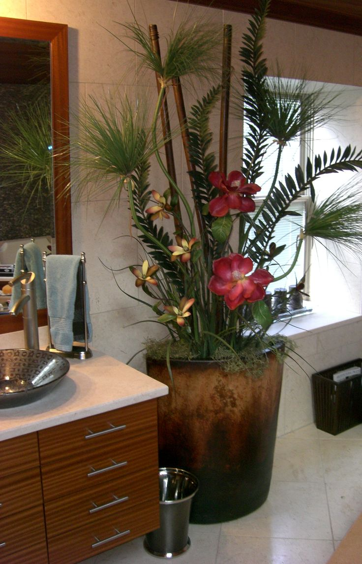 "This was the homeowner's container...we created this ""tropical paradise"" arrangement for her jacuzzi area"