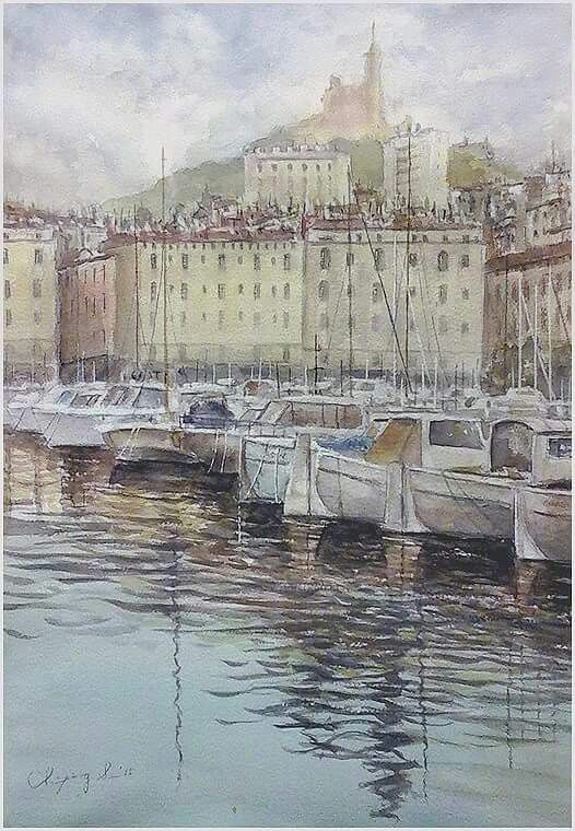 Afternoon in Marseile 52cm x 36cm / Watercolor Landscape / France / 2015 ... by Ching-Ping Sun ( 孫慶平 b.1969, Taiwan ) N. 210