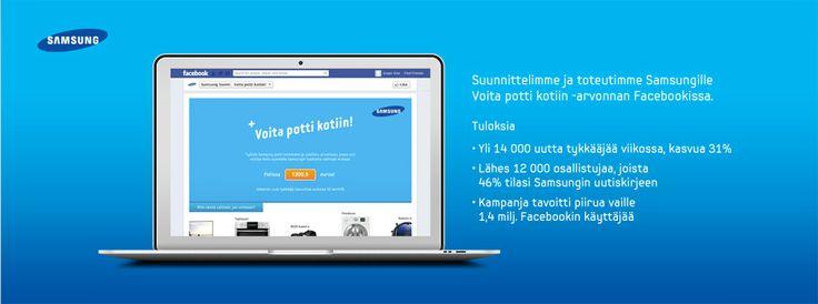 Facebook-kampanja Samsungille: Samsung Potti // yli 14000 uutta tykkääjää viikossa // tavoitimme viikossa lähes 1,4 miljoonaa Facebookin käyttäjää // Facebook campaign for Samsung - reached nearly 1.4 million Facebook users during one week //