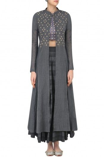 Sloh Designs Grey Embroidered Layered Style Blouse, Jacket and Skirt Set #happyshopping #shopnow #ppus