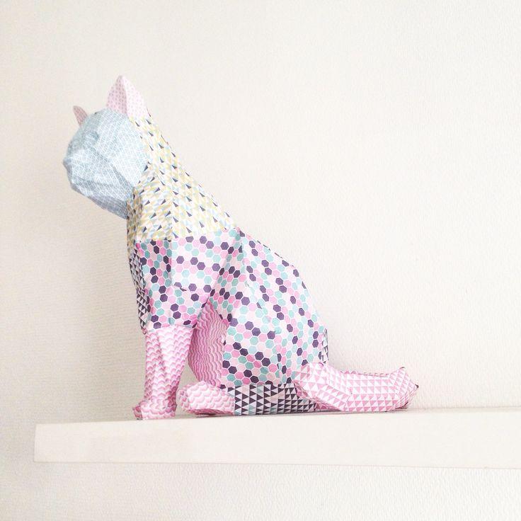 Paper art geometric polygon cat instagram=colormegoodd