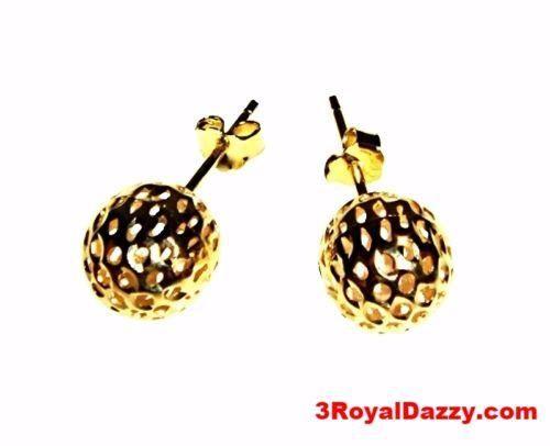 9mm Round Hollow Shiny Diamond Cut Ball Earring 14k Yellow Gold Layered On .925