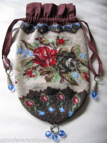 Antique Victorian Tan Crochet Brown Red Rose Blue Czech Bead Drawstring Purse | eBay