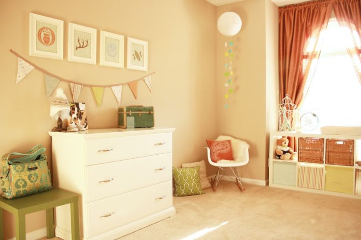 This cheerful nursery was created on a tight budget - beautiful!Wall Colors, Warm Colors, Yellow Wall, Frames Prints, Soft Colors, Girls Room, Baby Room, Plays Room, Nurseries Ideas