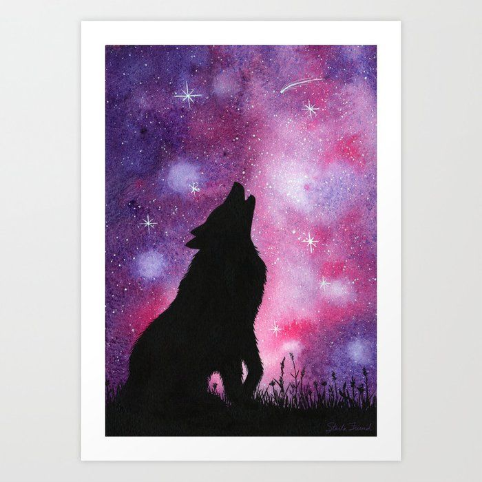 A Howling Wolf Against A Pink And Purple Galaxy Background