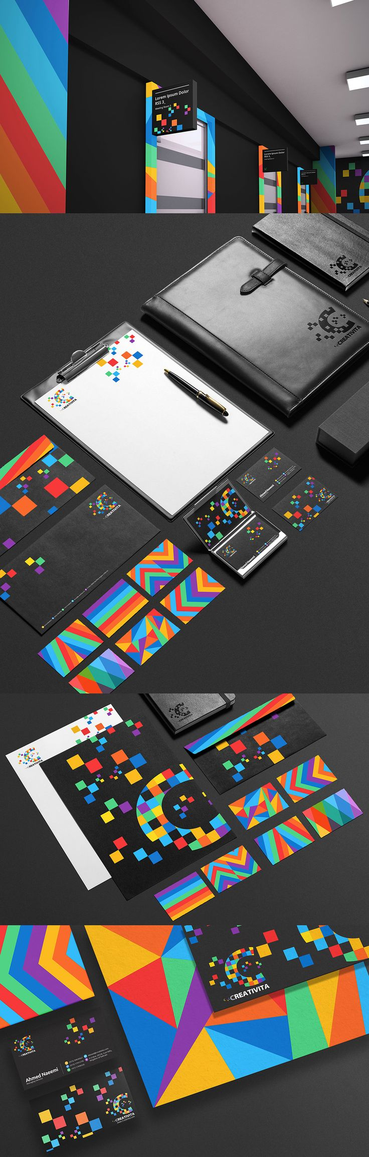 Creativita is a design studio based in the Kingdom of Bahrain. This brand identity was created based on the combination of pixels and mutiple colors.