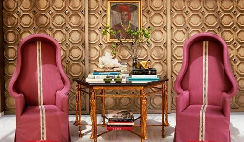 Love these statement chairs and the beautiful timber octagonal wall panels...so many interesting elements that balance eachother perfectly.