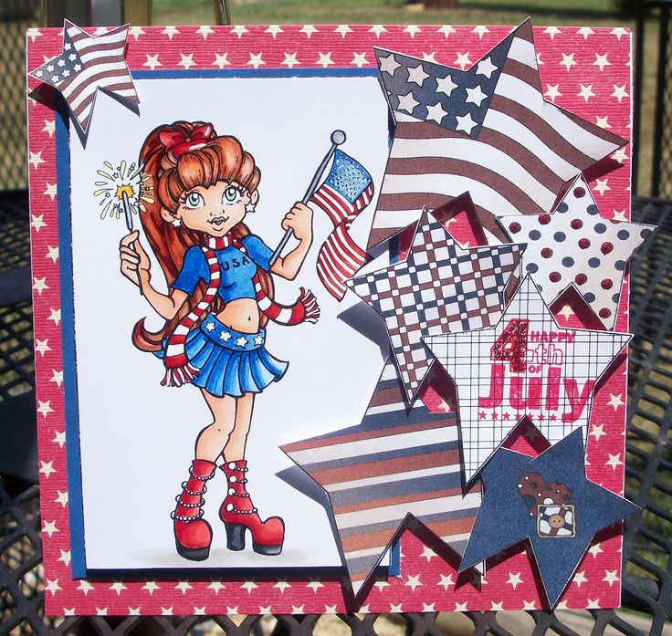 "Mayzy Art Designs ""Firecracker'  Clear Dollar Stamps colored digi set ""Stitchy Stars""  Colored with Copic Markers"