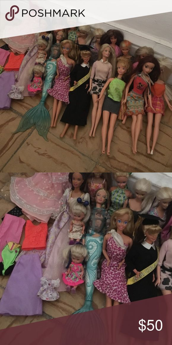 17 Barbies Price firm 17 barbies in very good condition 15 adults and 2 kids. Graduation barbie mermaid barbie lifeguard barbie rapunzel barbie all in very good condition with extra clothes. Other