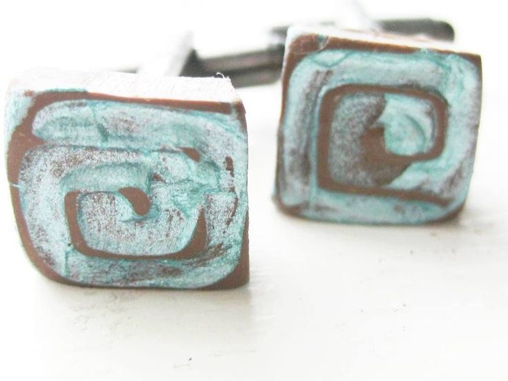 Polymer Clay GREEK Key Aqua and teracotta square Quirky CUFF LINKS