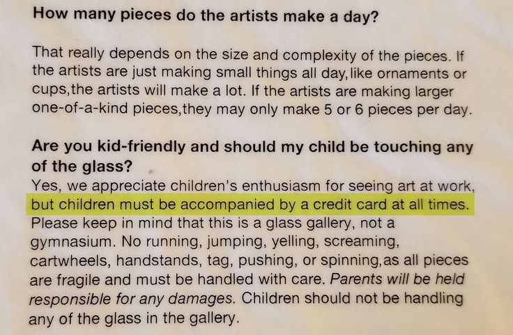 "Wow, Lexington Glassworks doesn't mince words. Forget about parents, ""children must be accompanied by a CREDIT CARD at all times""! #humor"