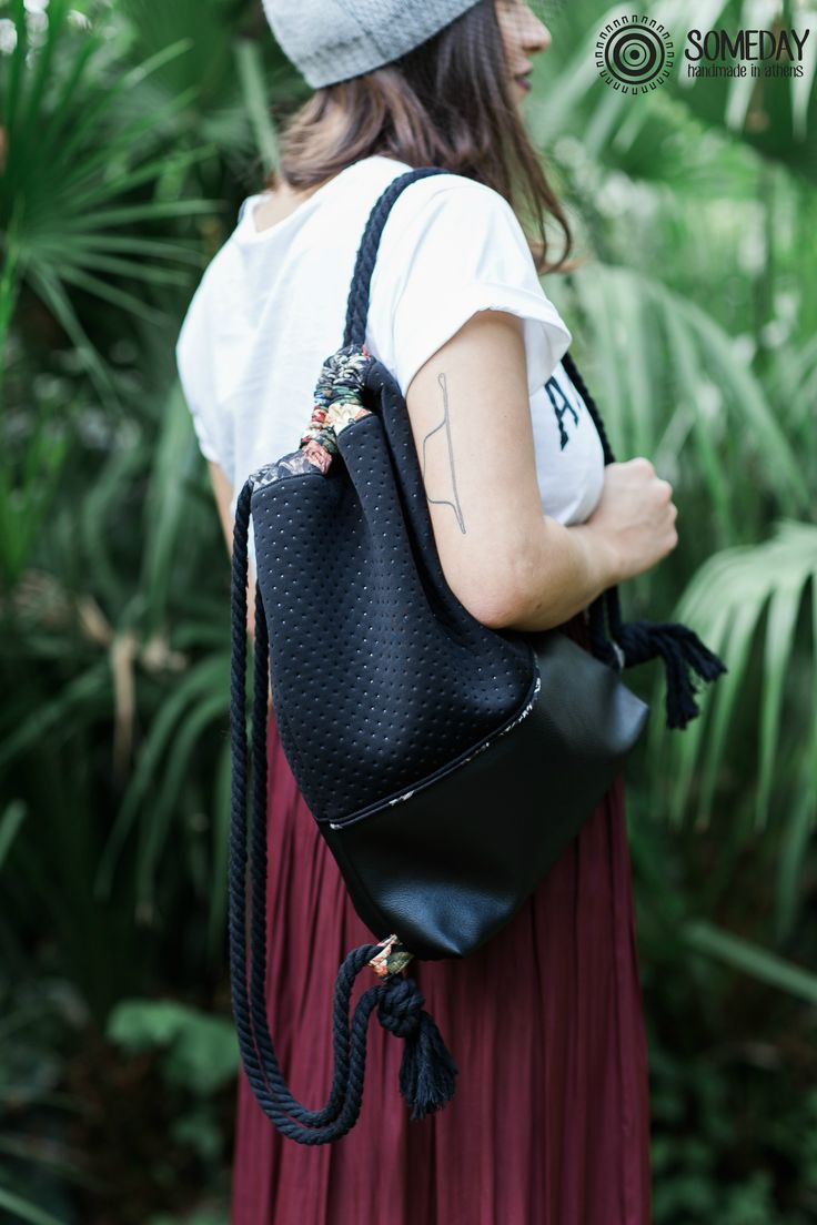 backpack,  women accessories,  medium or large,  city bag, vegan leather with black bomber fabric