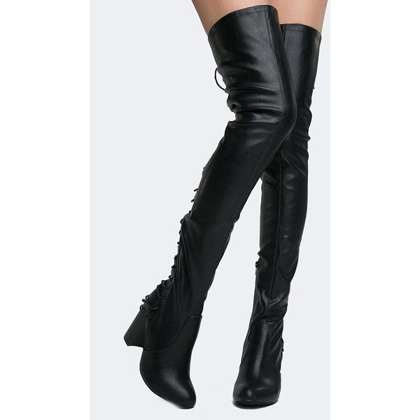 J. Adams Koko Lace Up Over the Knee Boot ($50) ❤ liked on Polyvore featuring shoes, boots, black pu, thigh high heel boots, thigh high boots, black over-the-knee boots, lace up thigh boots and over knee boots