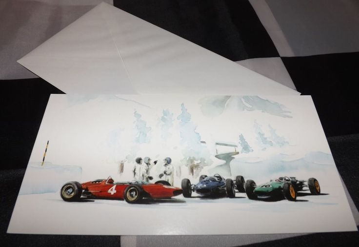 COOPER LOTUS FERRARI KLAUSEN HILL CLIMB SNOW CHRISTMAS NOEL GREETINGS GIFT CARD