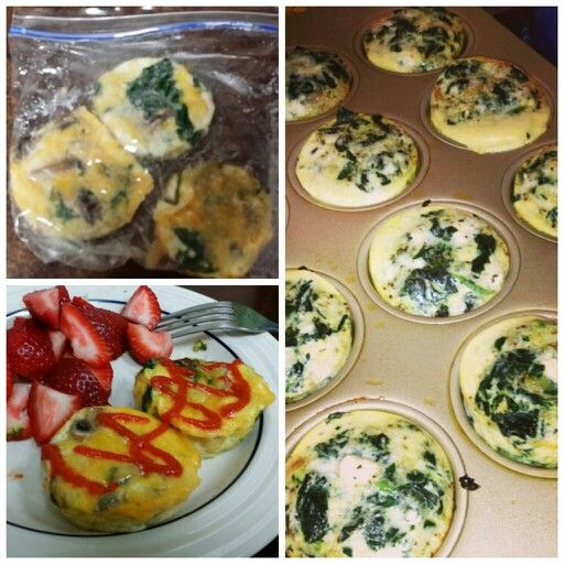 Egg white breakfast muffins with spinach and mushrooms. These are so easy and a great prepackaged meal that can be refrigerated or frozen.  Mix up your chosen ingredients and pour into a cupcake pan (don't forget to spray with oil) cook on 350° F for 15-20 minutes. A weeks worth of prepackaged breakfast -Created by Kelli Bill