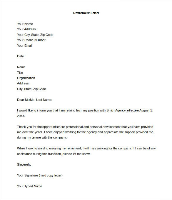 Retirement Letter Template 10 Free Word PDF Documents Download Free Amp Premium Templates