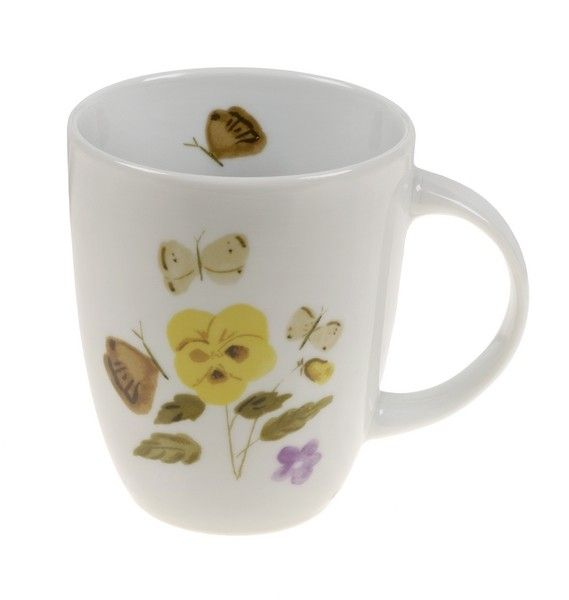 Mug with Y.Tsarouchis work - Pansies and butterflies, 1953-1978.  Benaki Museum - Yannis Tsarouchis 1910-1989.      Applied on porcelain