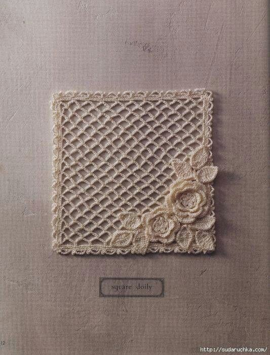 Square doily. What a cute pocket this would make!                                                                                                                                                      More
