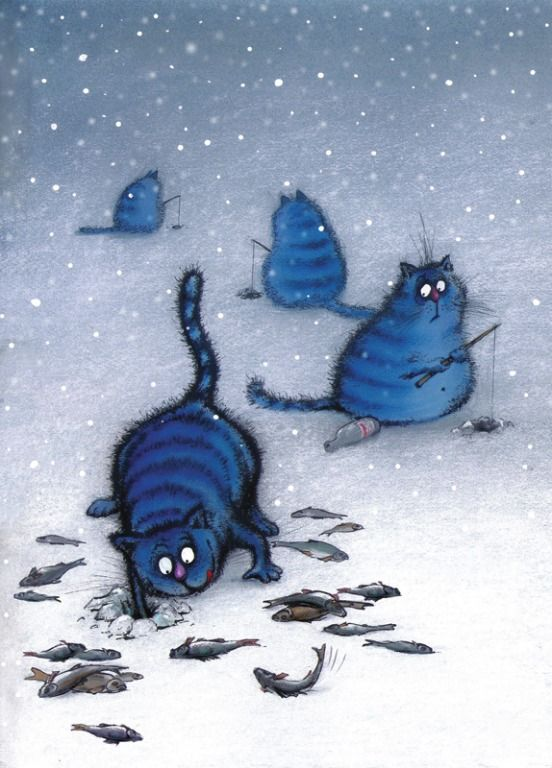 Image result for cats ice fishing