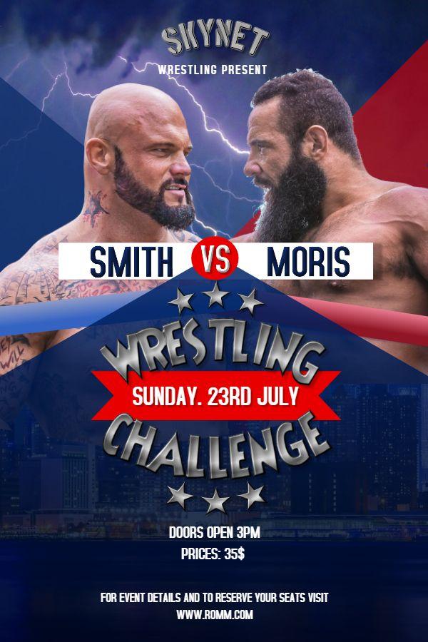 printable pro wrestling poster template with thunder wrestling