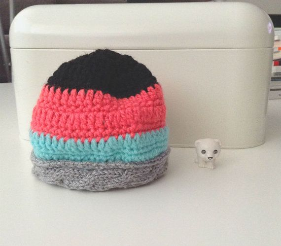 Lovely pink, blue and grey hat. Newborn hat, baby hat, striped newborn hat, baby girl hat, baby boy hat