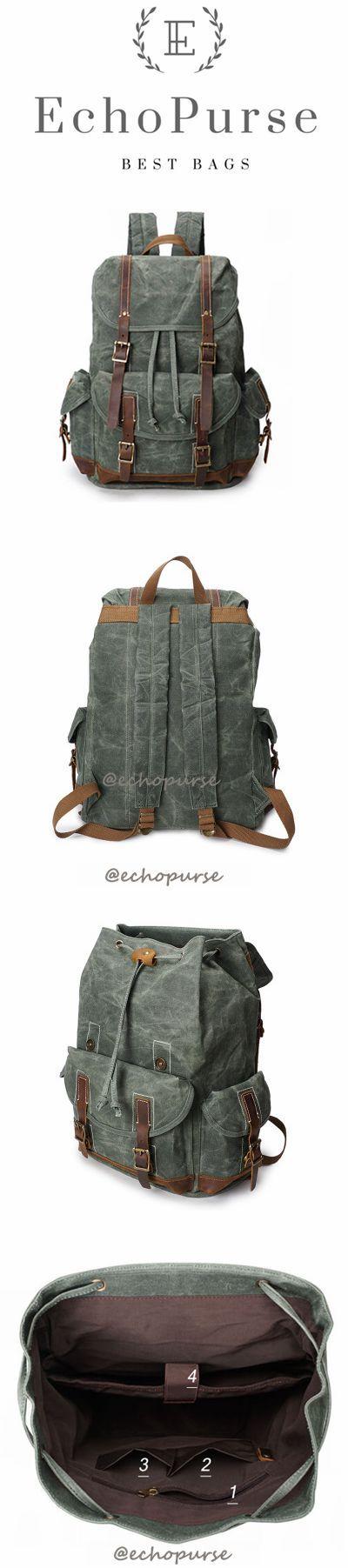 Oil Waxed Canvas Backpack, Vintage Waterproof Sports Backpack, Cyan Travel Backpack YD256