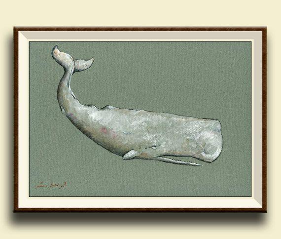 Drucken-Moby Dick-weiße Wal Cachalot Wal print Kunstwerke Kunst print Aquarell Ozean blau Pottwal - Art Print von Juan Bosco