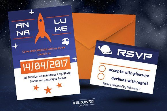 Rocket Wedding Invitation Template by Krukowski Graphics on @creativemarket
